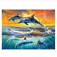 油絵 数字キットによる絵画 塗り絵 大人 手塗 DIY絵 デジタル油絵 動物のイルカ-16x20インチ(diyの木製フレーム)