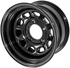 Outland 391550001 These black D-window steel wheels from Outland Automotive measure 15x8 inches with a 5x4.5 inch bolt pattern and 3.75 inch backspacing. Wheel D Window Wheel 15x8 Black 5x4.5