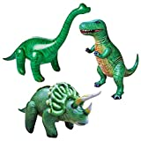 Jet Creations Dinosaur 3 Pack Tyrannosaurus Rex Brachiosaurus Triceratops, Inflatable Air Stuffed Plush, 3 pieces, multi, Giant 37+ inch Size. Realistic Figures Party Display Photo Stage Props. TBT