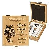 Murrano Weinöffner-Set personalisiert Weinset Sommelier Set - Geschenkbox Holzbox + 4er Weinzubehörset - aus Bambus - Braun - Geschenk zum Geburtstag für Frauen - Fässer