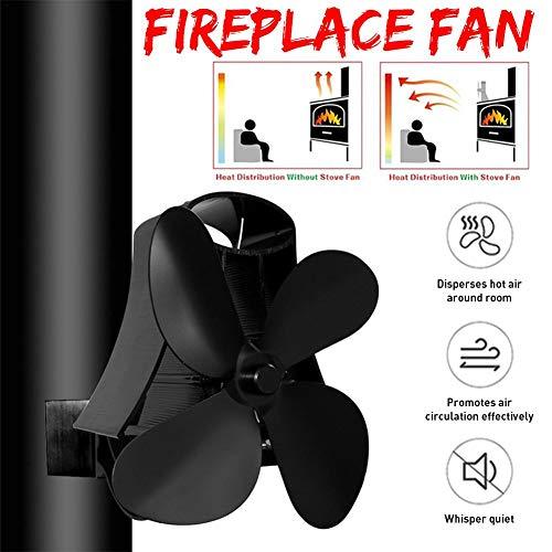 auspilybiber Ventilateur de cuisinière à Chaleur à 4 Lames 2020 pour Bois/poêle à Bois/cheminée - Respectueux de l'environnement Augmente de 80 l'air Plus Chaud Que 2 Lames