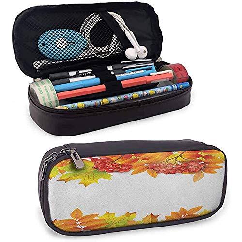 Rowan Kugelschreiber und Bleistifte Fall Herbst Zweige Border Design mit Erdbeeren und getrockneten Blättern Grafik für Studentenbüro