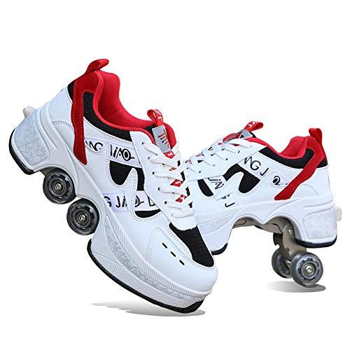 GGOODD Zapatos con Ruedas para Mujeres, Patines de Ruedas para Hombres, Zapatos Skate Invisible, Zapato de Rodillo de Patada para Niños y Niñas, Multiusos 2 En 1 Patines