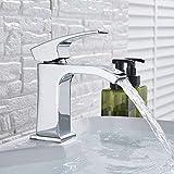 Grifo de baño de cascada de Roma, grifo mezclador de tocador de latón montado en cubierta, grifo mezclador frío caliente, grifo de una sola manija