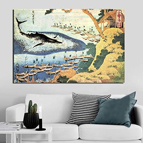 KWzEQ Berühmter Maler Ozeanmalerei drucken auf Leinwand Wohnzimmer Hauptdekoration Moderne Wandkunst Ölgemälde,Rahmenlose Malerei,50x75cm