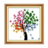 Printed Cross Stitch Kits 11CT 21x21inch 100% Cotton Holiday Gift DIY Embroidery Starter Kits Easy Patterns...