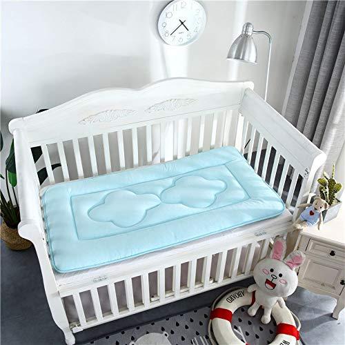 Flame-H Baby Mattress, Thicken Crib Mattress Topper Foldable 4cm Breathable Soft Reversible Mattress Sky Blue 56x100cm