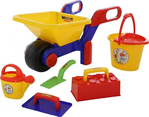 Wader Quality Toys Schubkarre mit Baustelleneimergarnitur, 7-TLG.