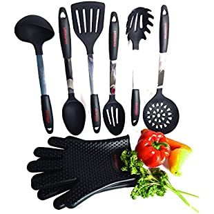 Customer reviews Cooking Utensils By eNibaraa, 8 Piece Kitchen Tool Set, Including 2 Pcs Heat Resistant Silicone Oven Gloves- Black