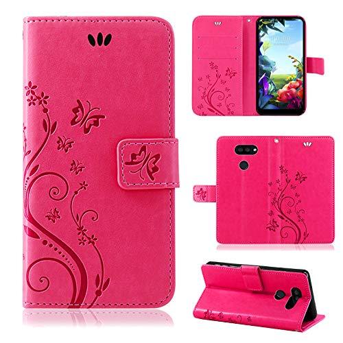 betterfon LG K40S Hülle Handy Tasche Handyhülle Etui Wallet Hülle Schutzhülle mit Magnetverschluss/Kartenfächer für LG K40S Blume Pink