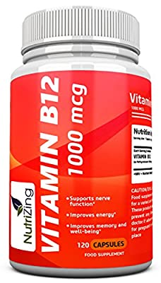 ? NutriZing Vitamin B12 capsules ~ Methylcobalamin 1000mcg ~ 120 capsules(4 month supply) ~ Made in UK ~ Best source for Vitamin B deficiency ~ For Men & Women ~ Increase energy & boost metabolism ~ Works great for proper functioning of red blood cells an