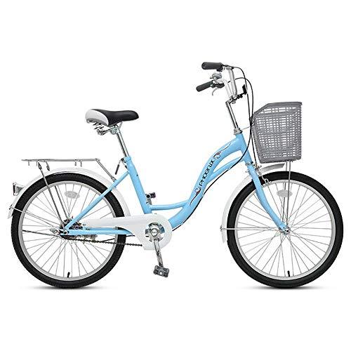 ZJDU Retro Student Cruiser Fahrräder,Bequemes Pendlerfahrrad,Mit Korb & Gepäckträger,Single Speed Comfort Bikes Für Männer Frauen,Blau,22 inch
