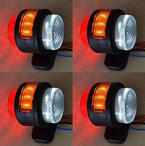 4x 24V Seite Outline Orange Rot Weiß Marker 15LEDs Lichter LKW Truck Chassis Trailer Van Caravan Camper Bus