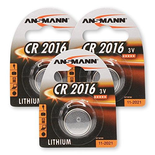 ANSMANN CR2016 Lithium Knopfzellen Set 3V Batterie für Autoschlüssel, TAN-Generator, usw. Knopfbatterien (3er Pack)