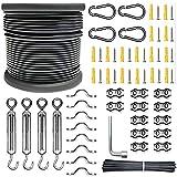 SUNMEG kit de cuerda de acero inoxidable, kit para colgar luces para exteriores, cable de acero inoxidable 304 con revestimiento de vinilo,tensor de alambre (Negro, 61M kit)