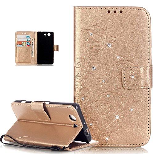 Compatible avec Coque Sony Xperia Z3 Compact Etui Bling Sparkle Diamant Motif Embosser Fleur Vines Papillons Cuir PU Housse Portefeuille Flip Case Etui Housse Coque pour Sony Xperia Z3 Compact,D'or