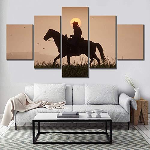 GNZY Pinturas En Lienzo 5 Piezas Póster Juegos De Red Dead Redemption 2 Banda Holandesa Arthur Morgan Western Mural para Imágenes De Fondo De Decoración del Hogar,B,40x60x2+40x100x1+40x80x2