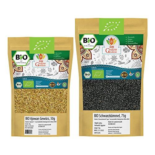 Ajowan BIO + Schwarzkümmel BIO | Nigella Sativa Echter Schwarzkümmelsamen aus Ägypten | Königskümmel Ajwain Ajowan Samen | Für Gesunde Küche, Tee und Öl | 125g (50g + 75g)