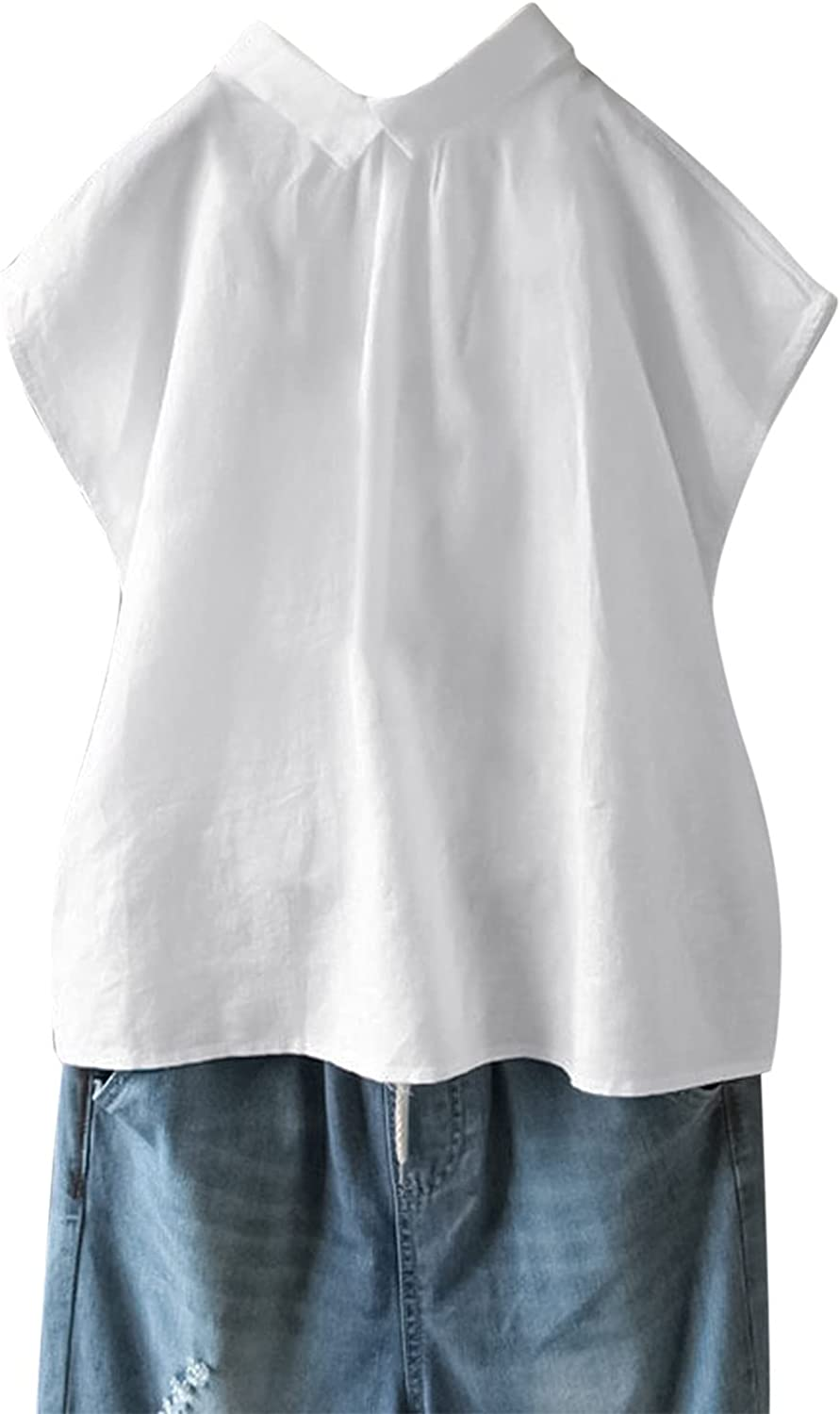 Fankle Womens Summer Linen Tunic Shirt with Pocket Loose Boatneck Short Sleeve Casual Button Down Beach Long Pullover Blouse