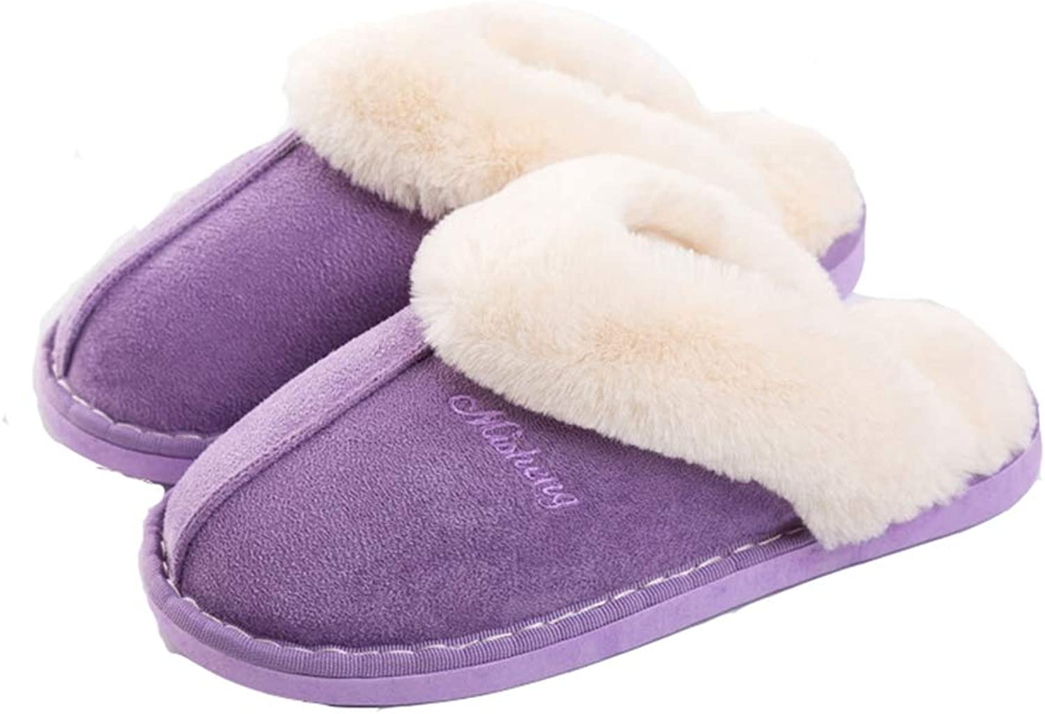 T-JULY Women's Fluffy Slip-On Home Slipper Memory Foam Suede Fur Lined Winter Non-Slip Sole Indoor & Outdoor