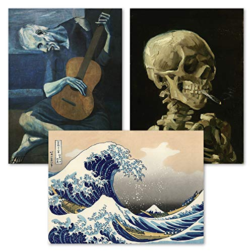 3 Pack of Posters: Vincent Van Gogh Skeleton + The Old Guitarist by Pablo Picasso + The Great Wave Off Kanagawa by Katsushika Hokusai - Set of 3 Fine Art Prints (LAMINATED, 18' x 24')