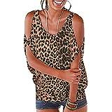 Tops Mujer Elegante Sexy Sin Tirantes Manga Corta Estampado Leopardo/Estampado Cebra Blusa Mujer Cuello Redondo Suelto Moda Casual Sport All-Match Mujer Top A-Brown L