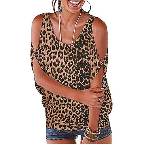 Camisa Blusa Mujer Camisa Sin Tirantes Camiseta Cuello Redondo Estampado Leopardo Sexy Casual Camisa Holgada Manga Corta Mujer Camisa Extragrande Todo-Fósforo A-Brown S