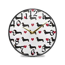 CaTaKu Animal Dog Round Wall Clock Silent Non Ticking, Valentine Dog Desk Clock Battery Operated Quartz Decorative 9.5'' Clock for Living Study Class Room Office Kitchen