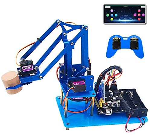 KEYESTUDIO 4DOF Metal Robot Arm Starte Kit for Arduino, Electronic Coding Robotics Arm DIY Set for Kids Adults Student ,Support PS2 Joypad Control, Bluetooth Remote Control by Android/iOS APP