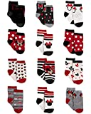 Disney Baby Girls Minnie Mouse Character Design Socks 12 Pack (Newborn and Infants), Minnie Black/Red/White, Age 12-24M