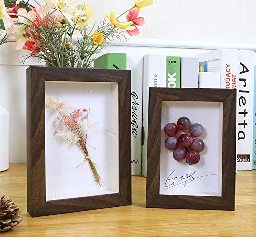 SONGHJ Dreidimensionale kreative DIY Fotorahmen 6 7 Zoll getrocknete Blume Rahmen Pflanze Schmetterling Probe Dekoration verdickt Bilderrahmen braun 7 Zoll / 12.7X17.8cm