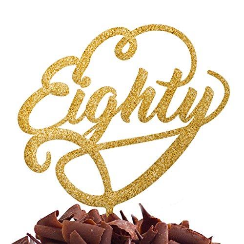 Directly Personlaised Quatre Vingt 80 Eightieth fête d'anniversaire de gâteau Plastique Acrylique Décoration Alimentaire régulier