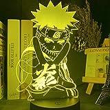 Luz Acrílica De Naruto con Luces De Noche USB para Habitaciones De Figura De Anime, Lámpara De Regalo para Luz Nocturna Bonita mpara Led 3D Personalizada