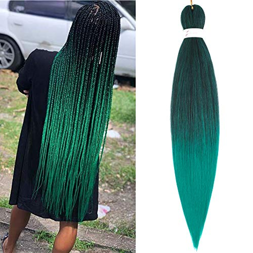 8 Packs Ombre Pre Stretched Braiding Hair 26 Inch colorful Easy Braid Crochet Hair Kanekalon Synthetic Fiber Hot Water Setting Yaki Texture Braid Hair Extensions(1B/Green)