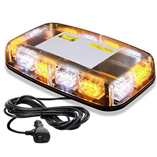 [Upgraded] VKGAT 36 LED Roof Top Strobe Lights, Emergency Hazard Warning Safety Flashing Strobe Light Bar for Truck Car, Waterproof and Magnetic Mount 12V (Amber/White)