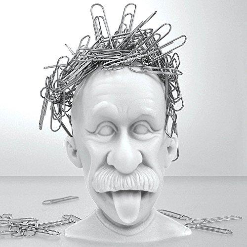 Mustard Magnetic Paper Clip Holder, Albert Einstein, Desk Accessory