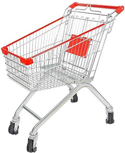 Ligera carrito de la compra con ruedas Supermercado cesta de la compra, la cocina del metal de la carretilla, Tienda Propiedad de la compra, Almacén Tally, con asiento Polea y niño, 60L Carro de compr