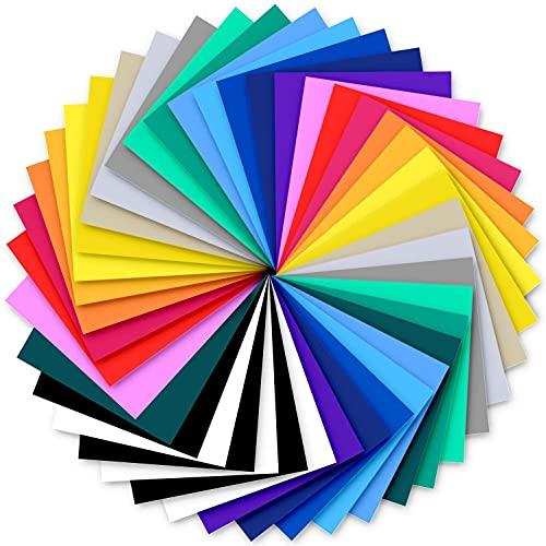 Vinile trasferibile a caldo, Ohuhu 42 confezione da 20 colori Pellicola per mobili autoadesiva Pellicola trasferibile HTV per tessuti T-shirt Cappelli Pellami, Regalo di San Valentino