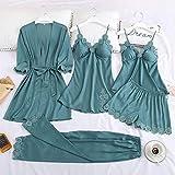 SDCVRE Conjunto de pijama 5PCS Pajamas Set Silk Satin Womens Lace Nightwear Spring Strap Pyjamas Suit Female Lounge Sleepwear with Chest Pads Home Wear,LightGreenBlueSet CA,M