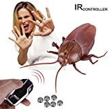 Messar Upgraded RC Cockroach Toy, Infrared Remote Control Mock Fake Giant Cockroach Toy Model Prank Insects Joke Scary Trick Bugs for Christmas Halloween Party Kids Gift (Cockroach)