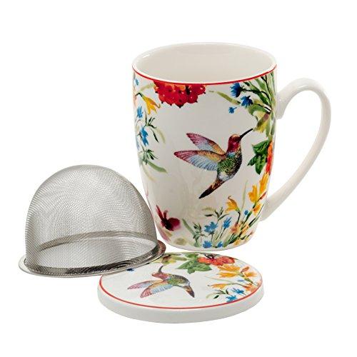 Tee-Tasse Teebecher Set mit Teesieb (Edelstahl) und Deckel Porzellan Teetasse mit Sieb Geschenk-Tasse Blumen Cup with tea infuser 320 ml von DUO 3teilig in Geschenkbox Becher Geschenkset (Linnea)