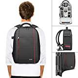 neewer zaino backpack professionale per fotocamera impermeabile antiurto 42x28x14cm con supporto per treppiedi tasca per reflex digitali, fotocamere mirrorless flash accessori (grigio interno)