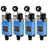 GUUZI 4 piezas Interruptor de Límite de Brazo de Palanca de Rodillo Momentáneo Ajustable ME-8104 de Plástico Giratorio NC-NO para Plasma Láser de Molino CNC