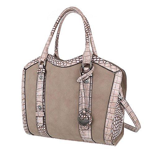 Handtasche - Schulterhandtasche Synthetik in hochwertiger Lederoptik TA-5820-23 Damen Handtasche Tasche Henkeltasche Schultertasche Umhängetasche (Camel)