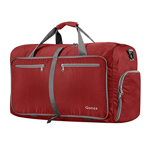 Gonex 60L Foldable Travel Duffle Bag for Luggage, Gym, Sport, Camping, Storage, Shopping Water & Tear Resistant Red
