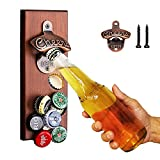 Gifts for Men Dad Husband, Magnetic Beer Bottle Opener Wall Mounted with Auto-Catch Cap, Unique Christmas Beer Gifts for Him Boyfriend Grandpa Uncle, Perfect for Kitchen fridge, Bar, Yard, Garden