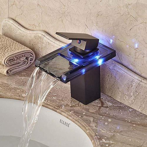 Grifo Luz Led Cuadrada De Vidrio Cascada Baño Grifo De Lavabo Mezclador De Bronce Frotado Con Aceite Tocador Torneira Banheiro Cozinha