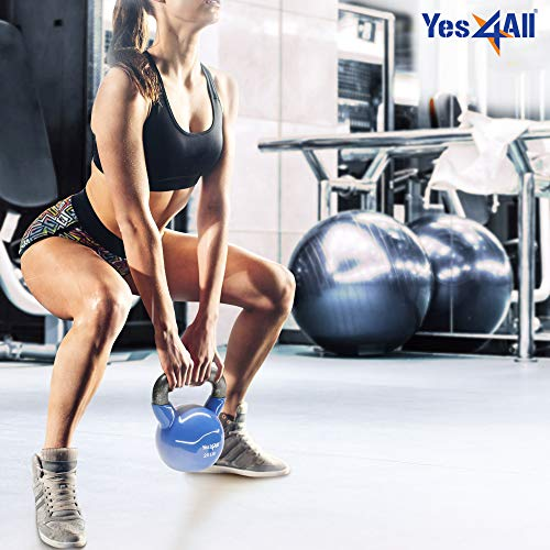 Yes4All Vinyl Coated Kettlebell Weights Set – Great for Full Body Workout and Strength Training – Vinyl Kettlebell 50 lbs