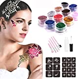 Glitter Tattoo Kit Temporary Tattoos Makeup Set Flash Body Art Painting Tattoo-24 Colors Glitter Powder 18 Butterfly Flower Stencils 1 Glue Applicator & 4 Pink Cosmetic Brushes for Kids Teens & Adult