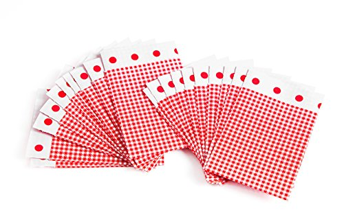 Logbuch-Verlag 100 kleine Papiertüten rot weiß kariert 7 x 9 cm + 2 cm Lasche - Mini Flachbeutel aus Papier - Verpackung für kleine Geschenke